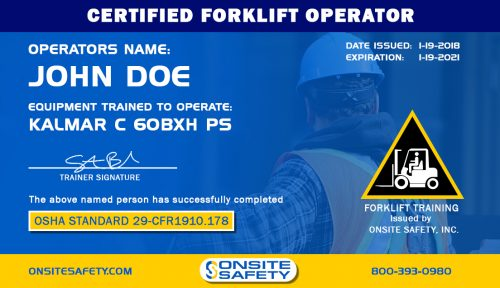 Onsite Safety Forklift Certification Card