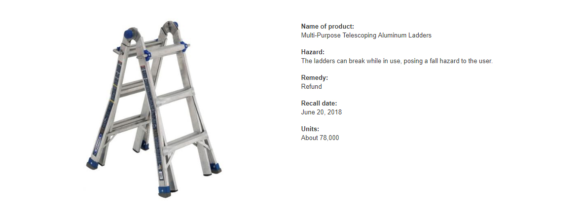 Recall For Ladders Sold At Home Depot Lowe S Onsite Safety